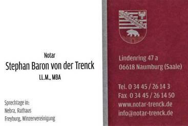 Sprechtage des Notars Stephan Baron von der Trenck