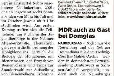Mehrtägiger Kurs für Imker in spe / MDR auch zu Gast bei Domglas
